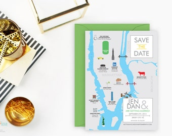 Custom Illustrated, Save the Date Map, Itinerary, Wedding Weekend Postcard, Hand Drawn, Personalized, Unique Save the Date