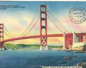 Golden Gate Bridge, San Francisco, Postcard by Cavallini to Mail or for Framing, Book Making, Decoupage, Collage, Scrapbooking & Paper Arts