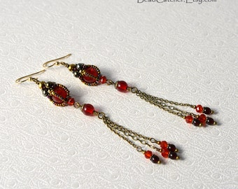Ruby red Long earrings