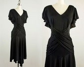 90s Vintage Black Flutter Sleeves Draped Wrap Dress / Size Small / Medium