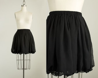 90s Vintage Black Sheer Chiffon Bubble Mini Skirt / Size Small
