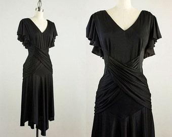 90s Vintage Black Flutter Sleeves Draped Wrap Dress / Size Small / Medium