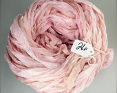 Silk sari ribbon, Recycled Silk Chiffon Sari Ribbon, Pink chiffon sari ribbon, pastel pink chiffon ribbon