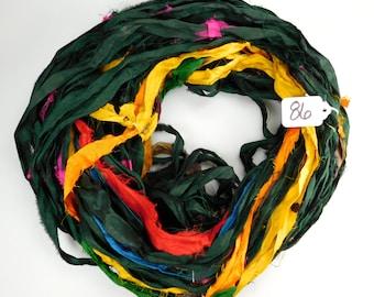 Silk Sari Ribbon, Sari Silk Ribbon, Recycled Silk Sari Ribbon, multi color ribbon, sari ribbon