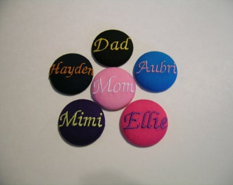 4 Personalized Fabric Covered BUTTONS Monogrammed Initial / Letter Wedding Flip Flop Wholesale Handmade Button Size 1.5 inch