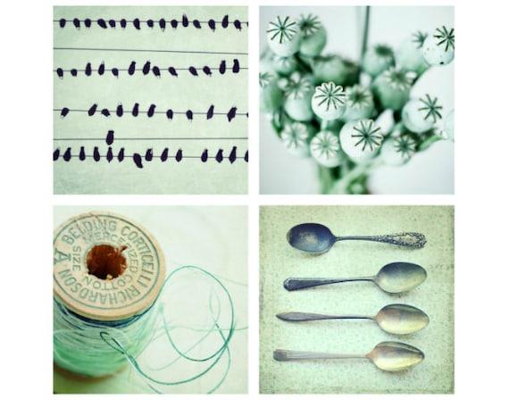 Mint green photography set four prints mint wall art retro kitchen decor  Save 35%