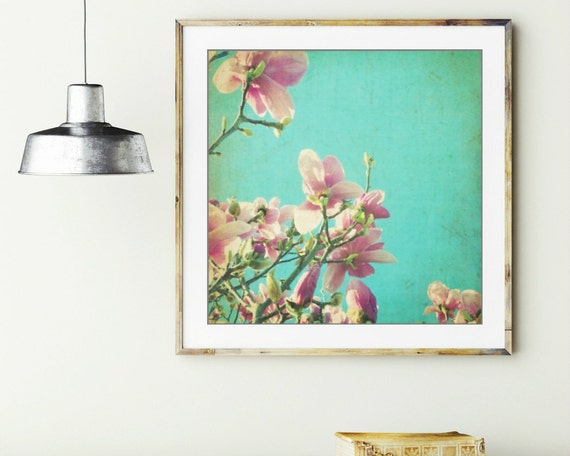 Botanical photography print teal blue pink magnolia flowers nursery baby room wall art 'Splendor'