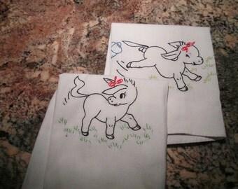 Vintage Linen Towels Playful Donkeys Embroidered Kitchen Towels