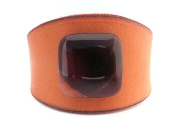 Single Stone Rawhide Leather Bracelet