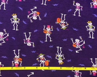 """Halloween skeletons on cotton lycra knit fabric 58"""" wide"""