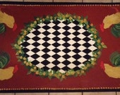 French Country Rooster FLOORCLOTH / Barn Red / Black and White Harlequin / Floral / Kitchen Rug / 3'x5'
