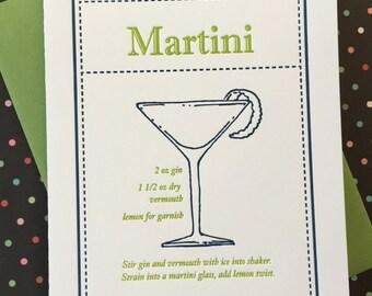 Letterpress Card - Martini