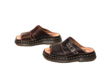 size 7 DOC MARTENS brown leather 80s 90s PLATFORM slip on clogs sandals
