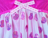 RESERVED Hologram heart dress, sheer nightie holographic valentines day fairy kei size M medium