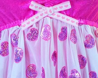 Hologram heart dress, sheer nightie holographic valentines day fairy kei size M medium