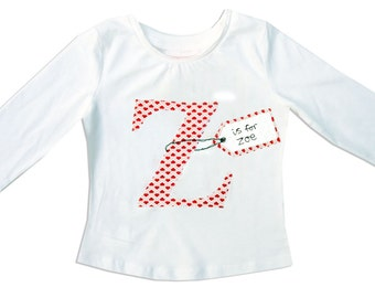 Personalized Alphabet Tee Shirt / Personalised Letter  T-Shirt / Valentine's Day Clothes / Girls Name Top / Children's Clothes / Baby Shirt