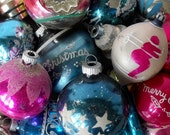 Lot of 20 vintage glass ornaments, pinks and blues, flawed but lovely