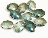 6 pcs of two tone oval crystal beads beads 12x15mm, electro plated crystal beads, Forest Green