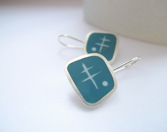 Teal Drop Earrings - Modern Square Earrings - Resin Jewelry - Graphico Atomic