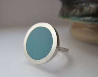Round Aqua Blue Resin Ring - Pale Blue Rings - Medium Large Ring - Poppet Ring - Sixties Pop Art Jewelry