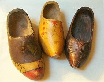 Instant Collection Vintage Dutch Wooden Shoes Mismatched
