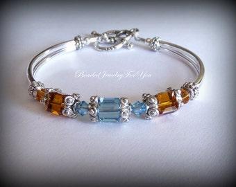 Birthstone Personalized Bracelet: Birthstone Jewelry, Birthstone Bracelet, March Birthstone, Custom Topaz Bracelet, Personalized Jewelry