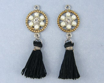 Black Tassel Earring Findings Silver and Gold White Pearl Fringe Earring Dangles Rhinestone Accents Jewelry Supply |BL2-8|2L