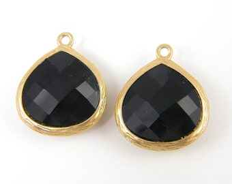Black Faceted Teardrop Earring Findings Gold Bezel Necklace Charms DIY Jewelry Making Supplies |BL6-9|2