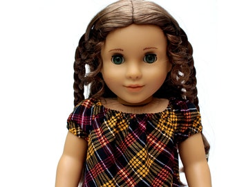 Fits like American Girl Doll Clothes - The Golden Autumn Collection, Perfectly Peasant Dress in Autumn Plaid