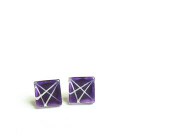 Purple earrings | modern and minimalist | handpainted glass by azurine