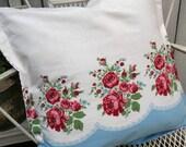 Pillow Sham Vintage fabric Summer Porch red roses on blue RDT ECS