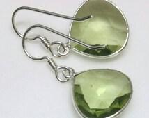 Green Amethyst Earrings, Prasiolite Earrings, Sterling Silver Amethyst Earrings,  February Birthstone Earrings by Maggie McMane Designs