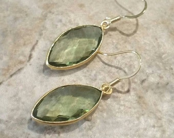 Green Amethyst Earrings, Prasiolite Earrings, Green Drop Earrings, Gemstone Earrings,  February Birthstone Earrings by Maggie McMane Designs