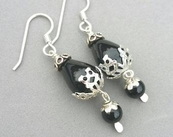 Black Earrings, Sterling Silver Drop Earrings, Black Onyx Earrings, Dangle, Bohemian Earrings, Boho by Maggie McMane Designs