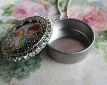 Vintage - Metal Tin  - NOS - Assemblage - Ornate Frame - Babys First Tooth -  Necklace - Keepsake - Steampunk - Watch Tin - Pendant