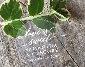Clear Round Waterproof Mason Jar Mug or Favor Labels - White on Clear Sticker - Wedding Favor Labels - Love is Sweet - Set of 50