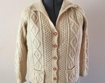 Cream Wool Cardigan Aran Style Pattern Hand knit vintage sz L