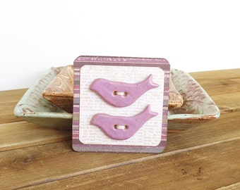 Stoneware Bird Buttons in Soft Lavender Glaze - Set of 2