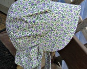 "Pioneer bonnet Ivory with Purple flowers/  Girls Prairie bonnet ""Special Price for ready to ship"""