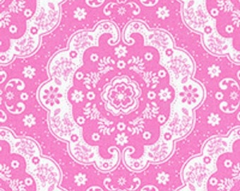 Pink and White Floral Lace Medallion 31272 20 Fabric by Lecien Flower Sugar