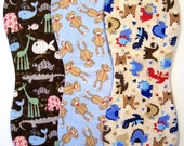 Quilted Contoured Baby Burp Cloths ~ Set of 3 ~Triple Layer ~ Flannel & Fleece ~ Baby Boy ~ Set #BC/5A