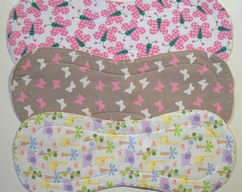Quilted Contoured Baby Burp Cloths ~ Set of 3 ~Triple Layer ~ Flannel & Fleece ~ Baby Girl ~ Set #BC/34B