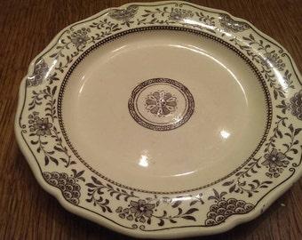 """Vintage 8"""" Wedgewood Plate in Cream & Brown"""