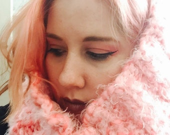 Fluffy Pink Cowl Scarf