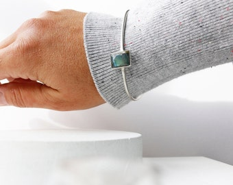 Jump Bracelet - Sterling Silver and Labradorite Bangle