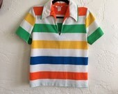 Vintage El Mar Striped Polyester Pullover Primary Colors Shirt Sz S 70s Retro