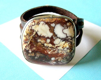 Navajo Wild Horse Magnesite and Sterling Silver Triple Leather Wrap Bracelet