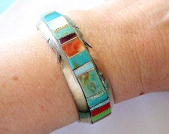 SALE..Steve Francisco - Navajo Sterling Silver Multi-Gemstone Inlay Bracelet