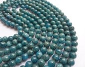 6mm Natural Blue Apatite Round Semi Precious Gemstone Beads 32pcs, Half Strand