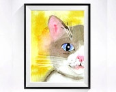 41. Grey Cat Art, Watercolor PRINT, Nursery cat illustration kitty artwork painting animals, Wall art decor color field yellow grey, C